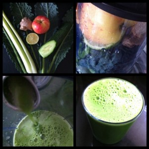 A detox juice recipe made with kale, ginger, celery, cucumber, lime and apple
