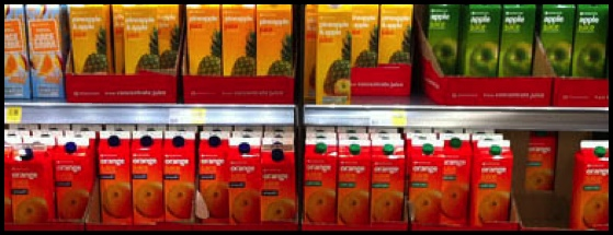 Supermarket juice cartons