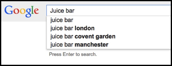 Searching for Juice Bars on Google