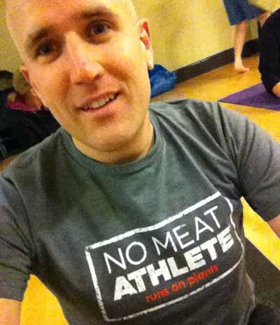 Yoga in a No Meat Athlete Shirt