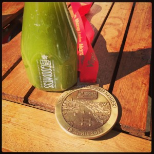London Marathon 2014 Medal and a Green Juice
