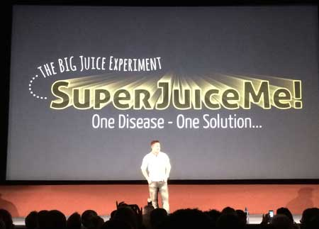 Jason Vale gives a keynote before Super Juice Me! Premiere