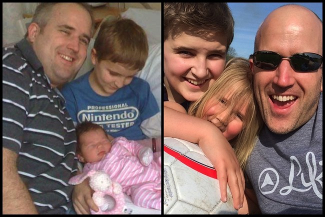 Natural Juice Junkie, Neil Martin before and after pic with kids