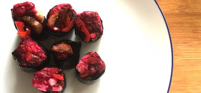 Raw Shiitake and Beetroot Sushi Rolls