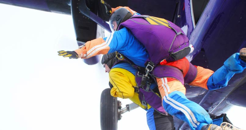 Exiting the plane - the skydive is on!
