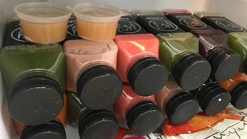 Juicytox juices in the office fridge